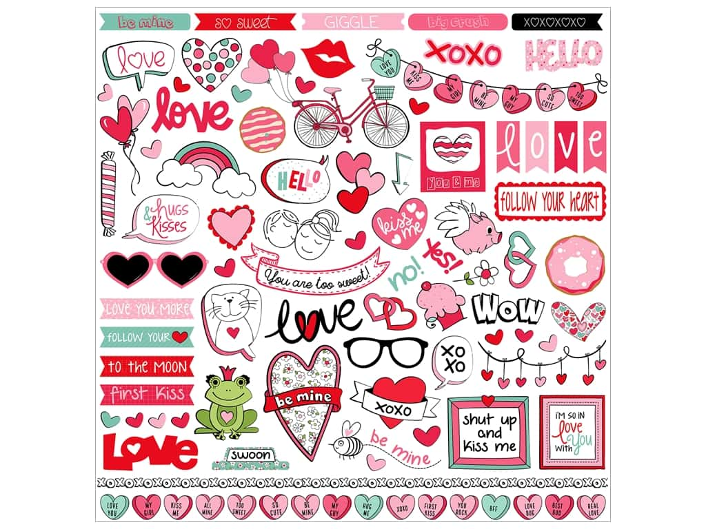 Photo Play Love Notes Sticker Elements 12 in. x 12 in. (12 pieces)