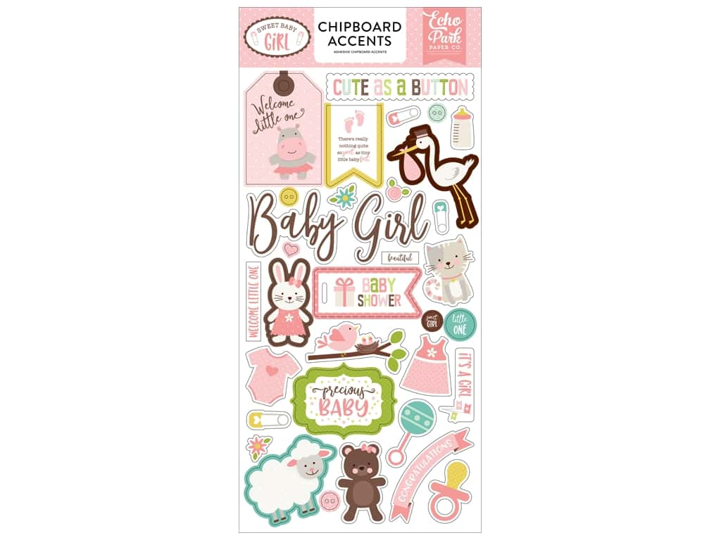 Echo Park Sweet Baby Girl Chipboard 60in. x 12 in. Accents