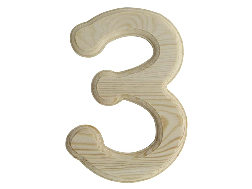 Multicraft Wood Number Bevel Cut 6 in. Natural 3