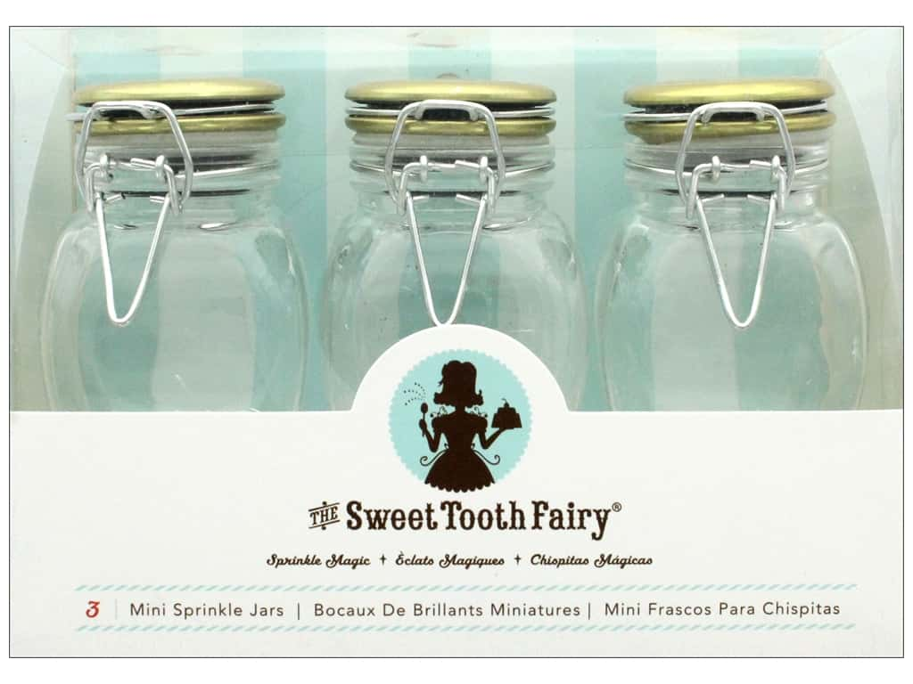 American Crafts Sweet Tooth Fairy Jars Gold Lid 3 pc