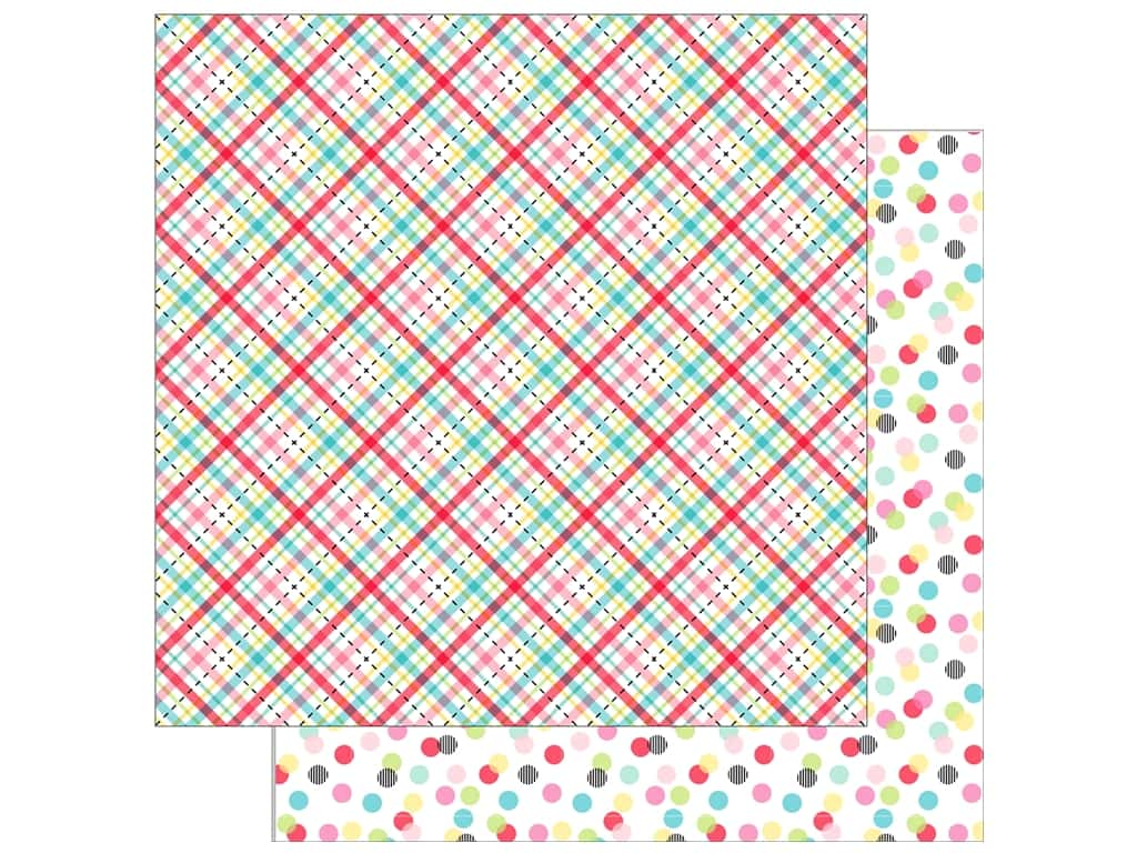 Doodlebug So Punny Paper 12 in. x 12 in. Plaid About You (25 pieces)