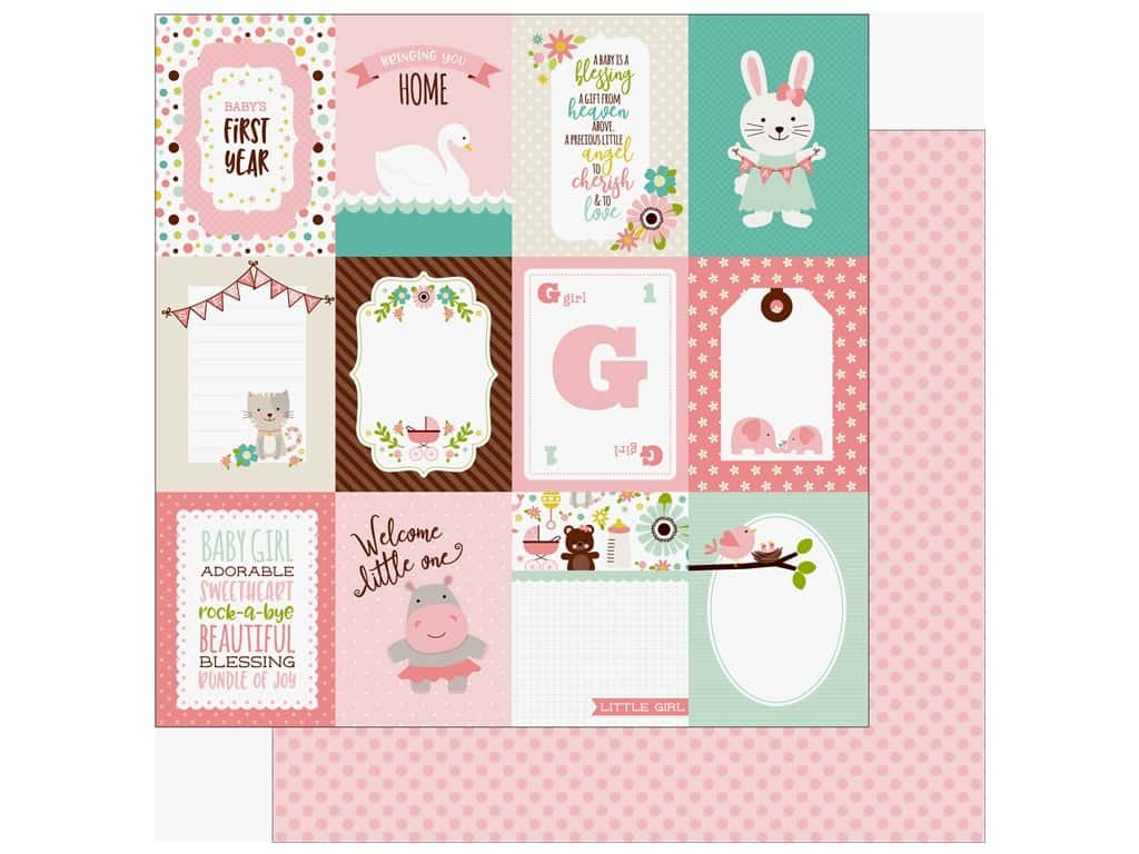 """Echo Park Sweet Baby Girl Paper 12""""x 12"""" 3""""x 4"""" Journaling Cards (25 pieces)"""