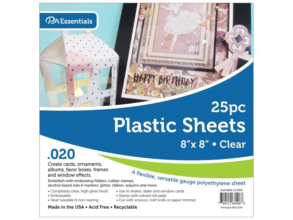 Paper Accents Plastic Sheet 8 x 8 in. .02 in. Clear 25 pc.