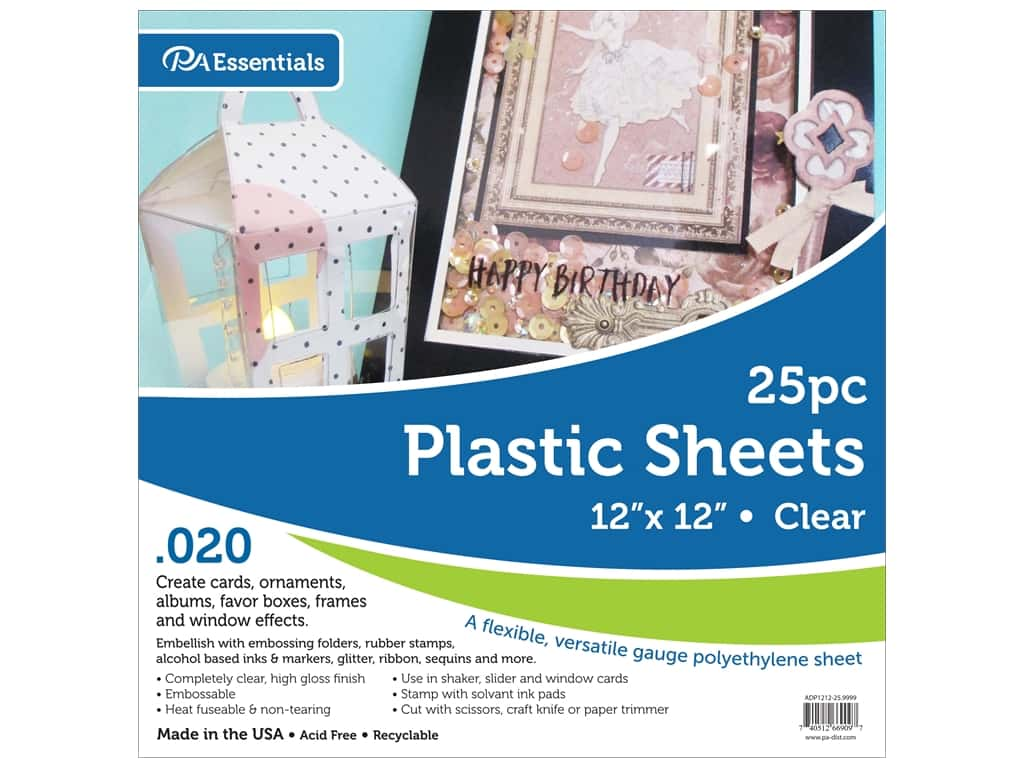 Paper Accents Plastic Sheet 12 x 12 in. .02 in. Clear 25 pc.