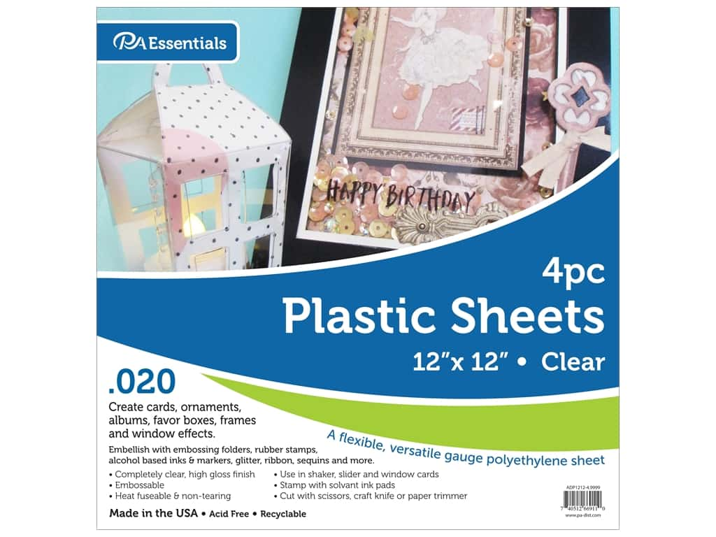 Paper Accents Plastic Sheet 12 x 12 in. .02 in. Clear 4 pc.