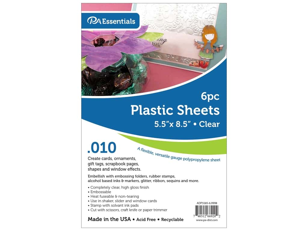 Paper Accents Plastic Sheet  5 1/2  x 8 1/2  in. .01 in. Clear 6 pc.