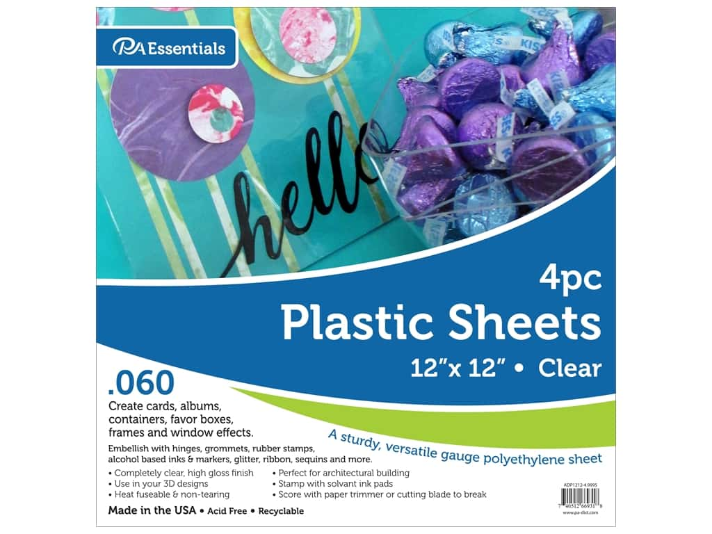 Paper Accents Plastic Sheet 12 x 12 in. .06 in. Clear 4 pc.