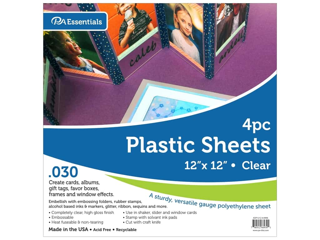 """Paper Accents Plastic Sheet 12 in. x 12 in.  .030"""" Clear 4 pc"""