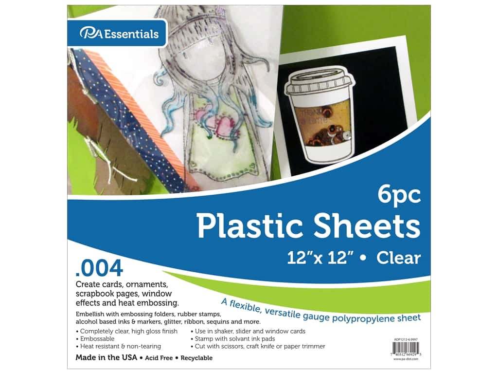 Paper Accents Plastic Sheet 12 x 12 in. .004 in. Clear 6 pc.