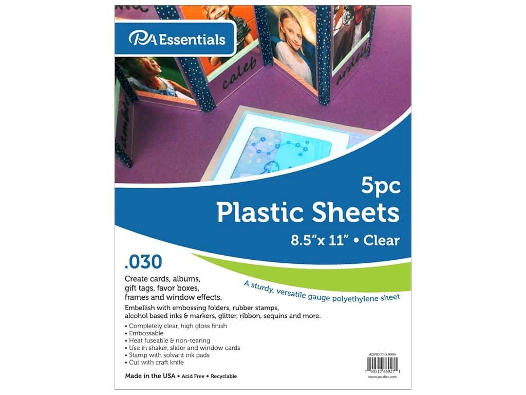 Paper Accents Plastic Sheet 8 1/2 x 11 in. .03 in. Clear 5 pc.