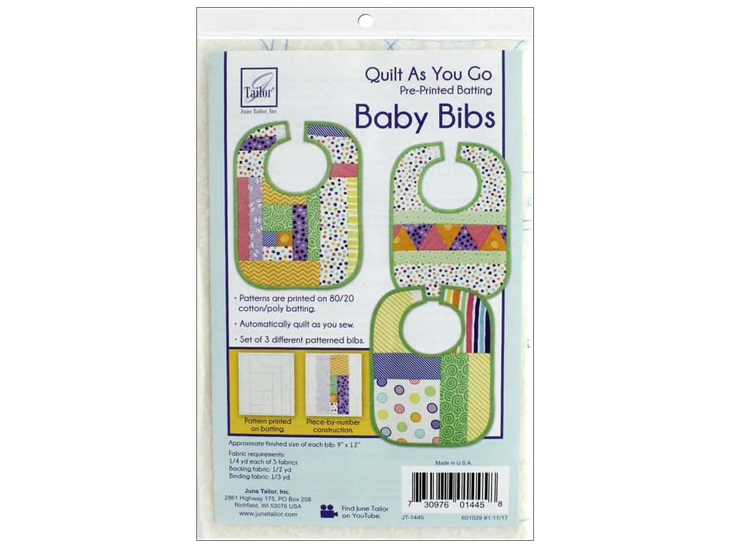 June Tailor Batting Quilt As You Go Cotton/Polyester Baby Bibs