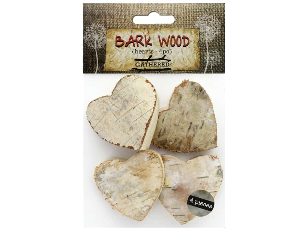 BCI Crafts Bark Shapes Hearts 4 pc