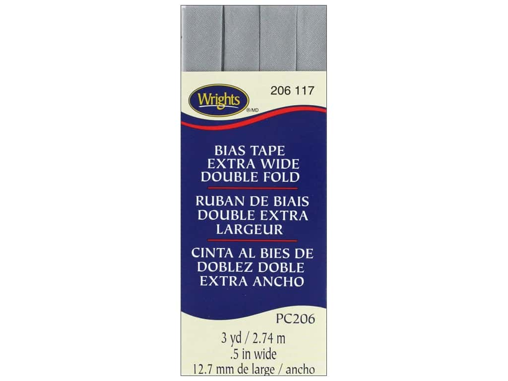 Wrights Extra Wide Double Fold Bias Tape 3 yd. Medium Gray