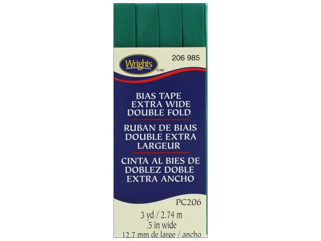 Wrights Extra Wide Double Fold Bias Tape 3 yd. Irish Clover