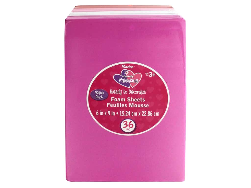 """Darice Foamies Sheet 6""""x 9"""" Value Pack Red Pink White"""