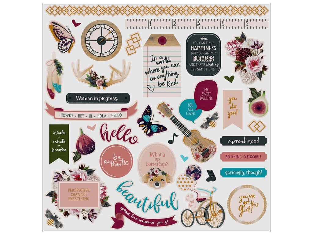 Photo Play Gypsy Rose Sticker Element 12 in. x 12 in. (12 pieces)