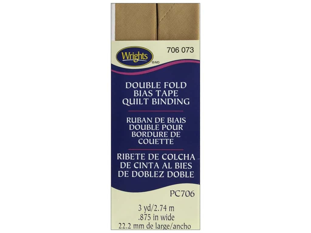 Wrights Double Fold Quilt Binding - Tan 3 yd.