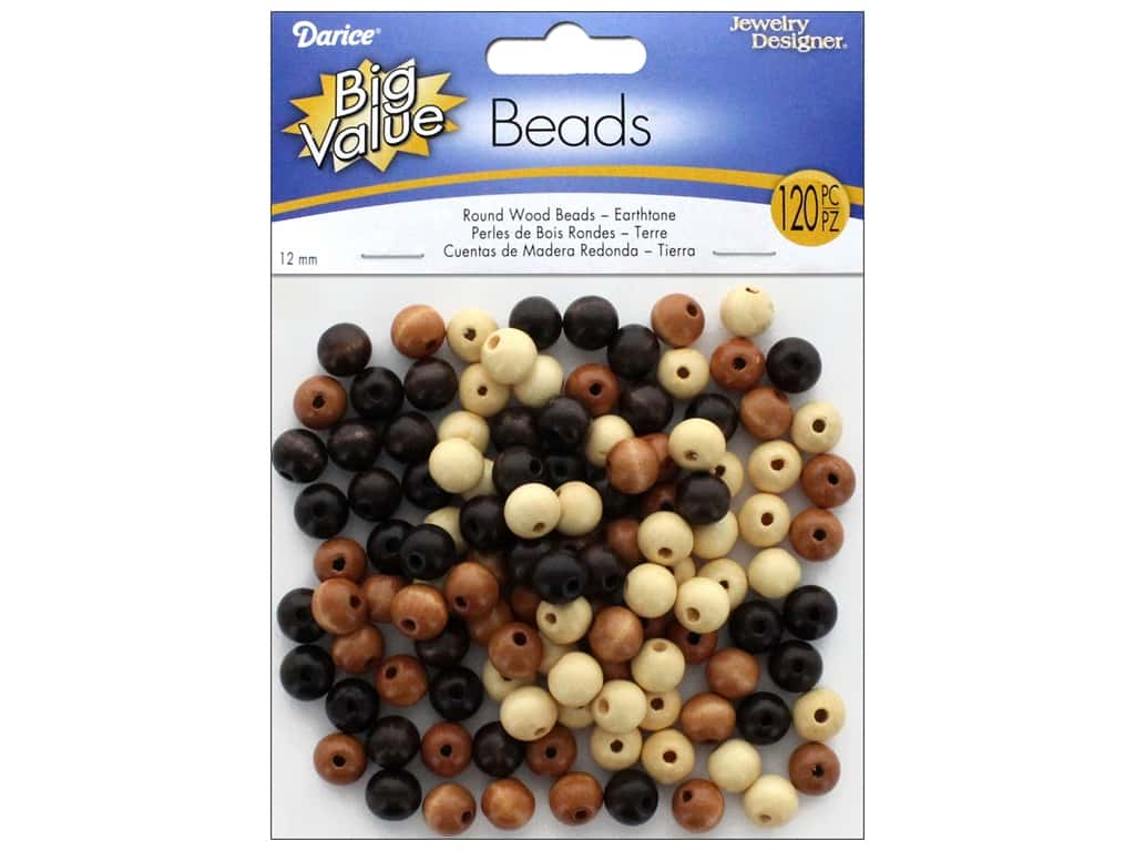 Darice Wood Beads 8 mm Assorted Earth Tones 120 pc.
