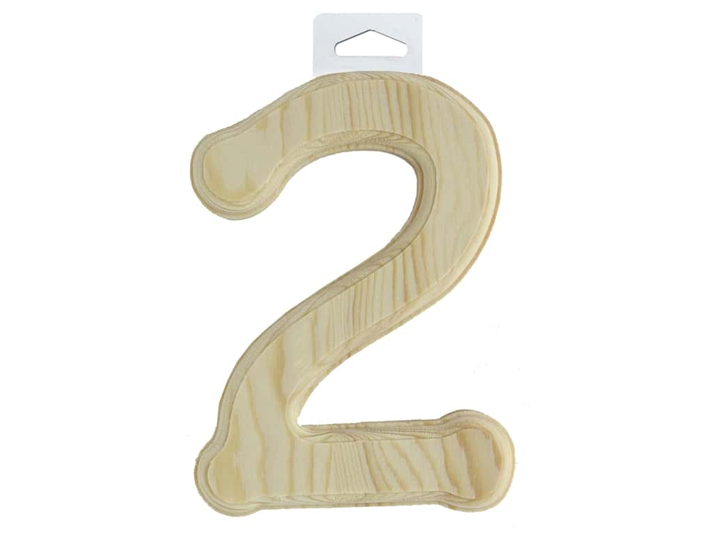 Multicraft Wood Number Bevel Cut 6 in. Natural 2