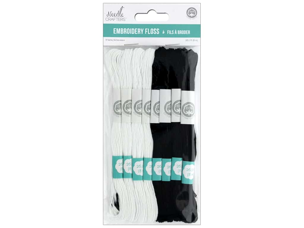 MultiCraft Cord Needlecrafter Embroidery Floss 6 Strand Black/White