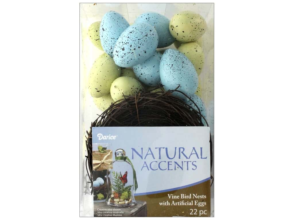 Darice Bird Nest with Eggs Speckled 22 pc