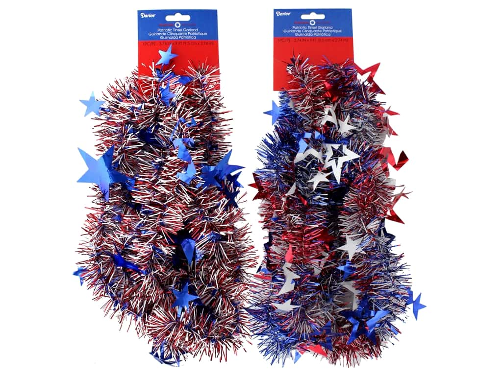 Darice Garland Tinsel Patriotic 2 Assorted 9 ft