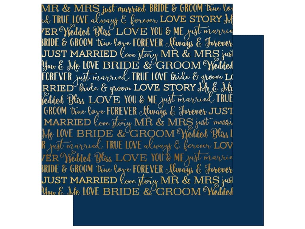 Carta Bella Love Story 12 in. x 12 in. Foil Navy (25 pieces)