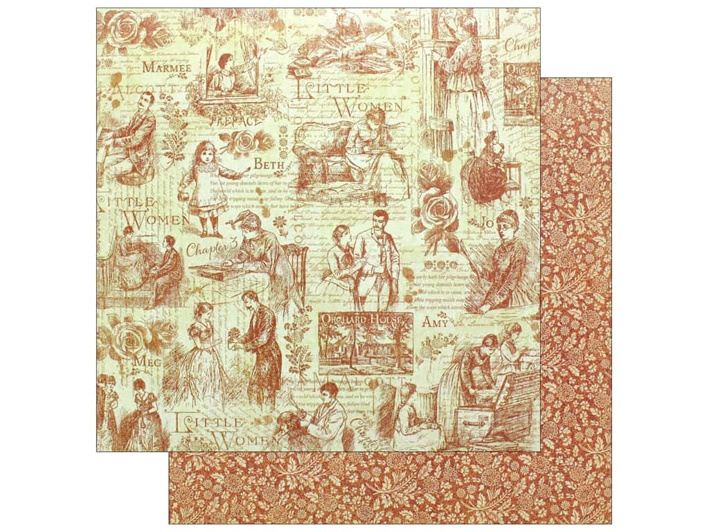 """Graphic 45 Collection Little Women Paper 12""""x 12"""" Time To Cherish (25 pieces)"""