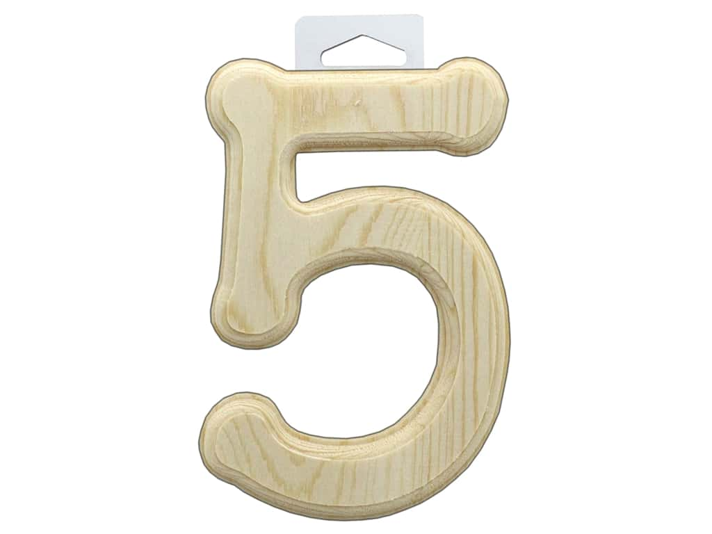 Multicraft Wood Number Bevel Cut 6 in. Natural 5
