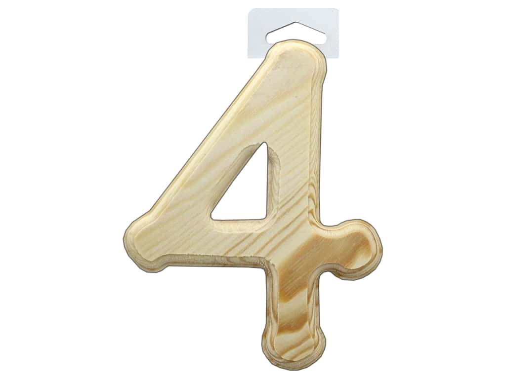 Multicraft Wood Number Bevel Cut 6 in. Natural 4