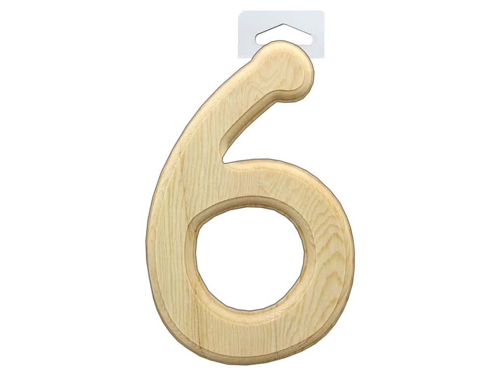 Multicraft Wood Number Bevel Cut 6 in. Natural 6