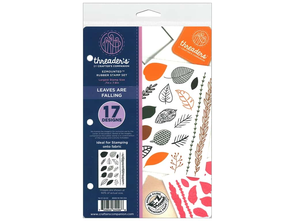 Crafter's Companion Threaders Rubber Stamp Set Leaves are Falling
