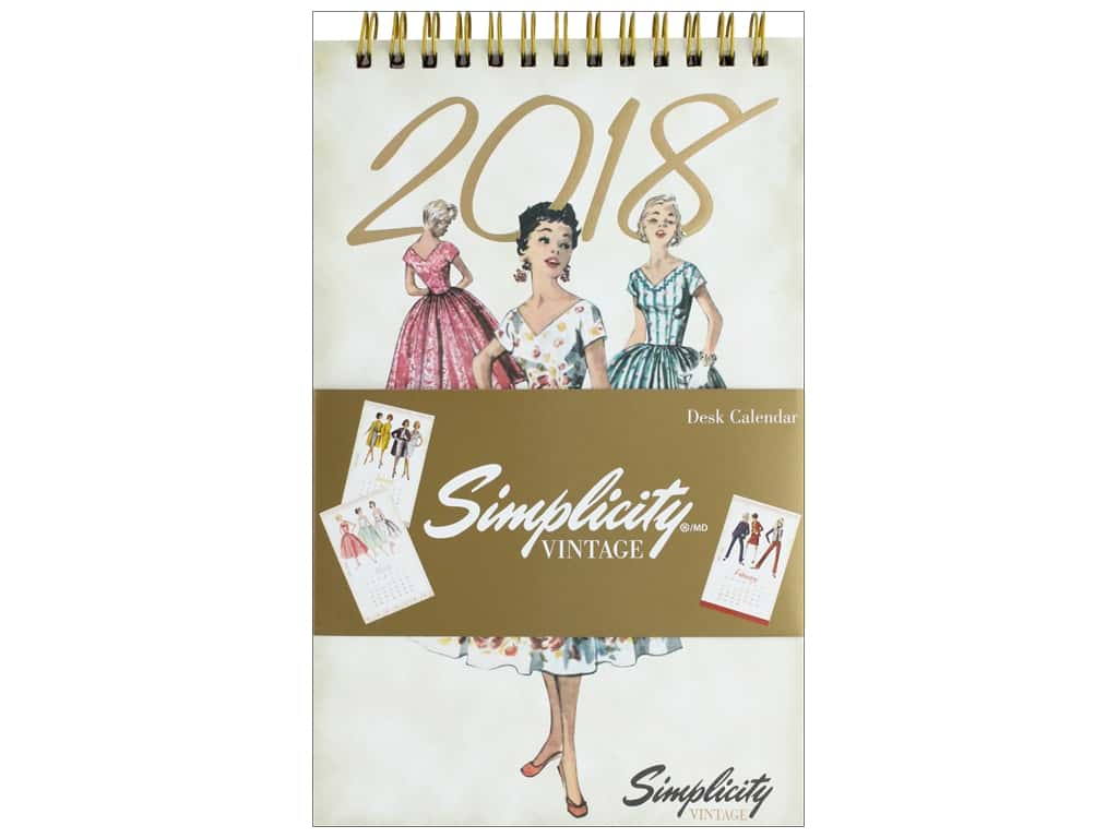 Simplicity Notions Vintage 5 in. x 8 in.  Desk Calendar 2018