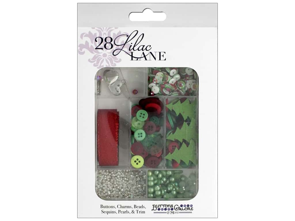 Buttons Galore 28 Lilac Lane Embellishment Kit Holly Jolly