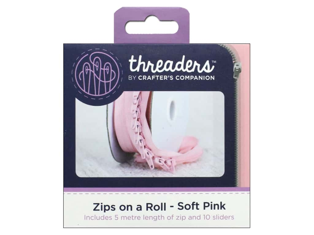 Crafter's Companion Threaders Zips on a Roll Soft Pink