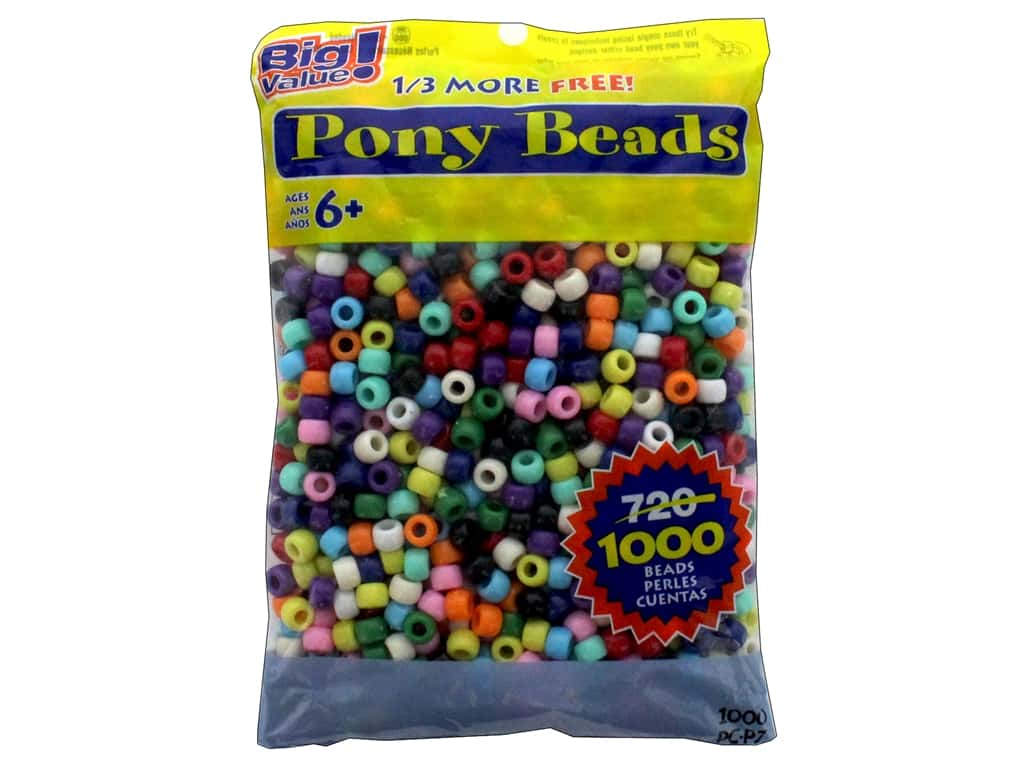 Darice Pony Beads 6 x 9 mm 1000 pc. Opaque Colors