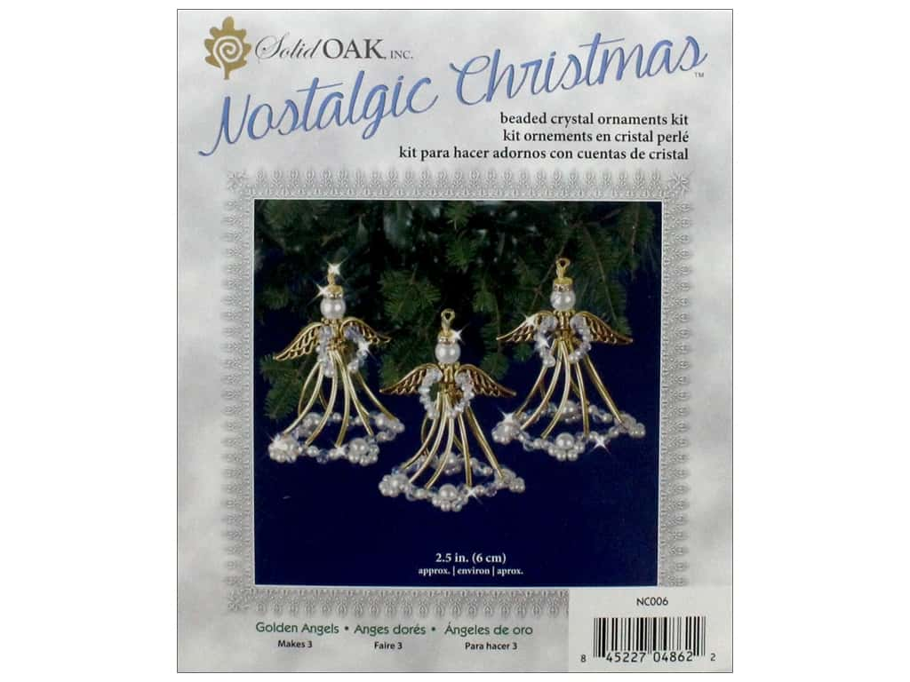 Solid Oak Kit Beaded Ornament Golden Angels