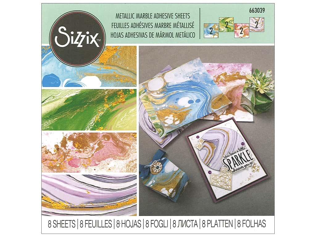 Sizzix Adhesive Sheets 6 in. x 6 in. Metallic Marble Assorted