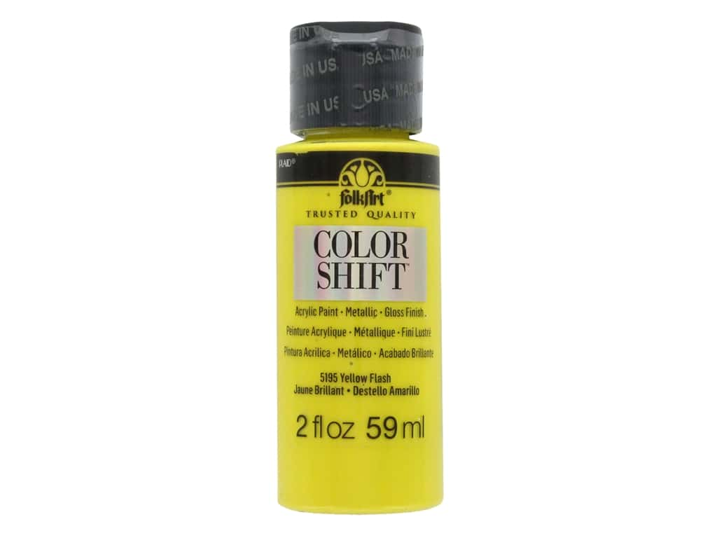 Plaid Folkart Color Shift Paint 2 oz. Yellow Flash