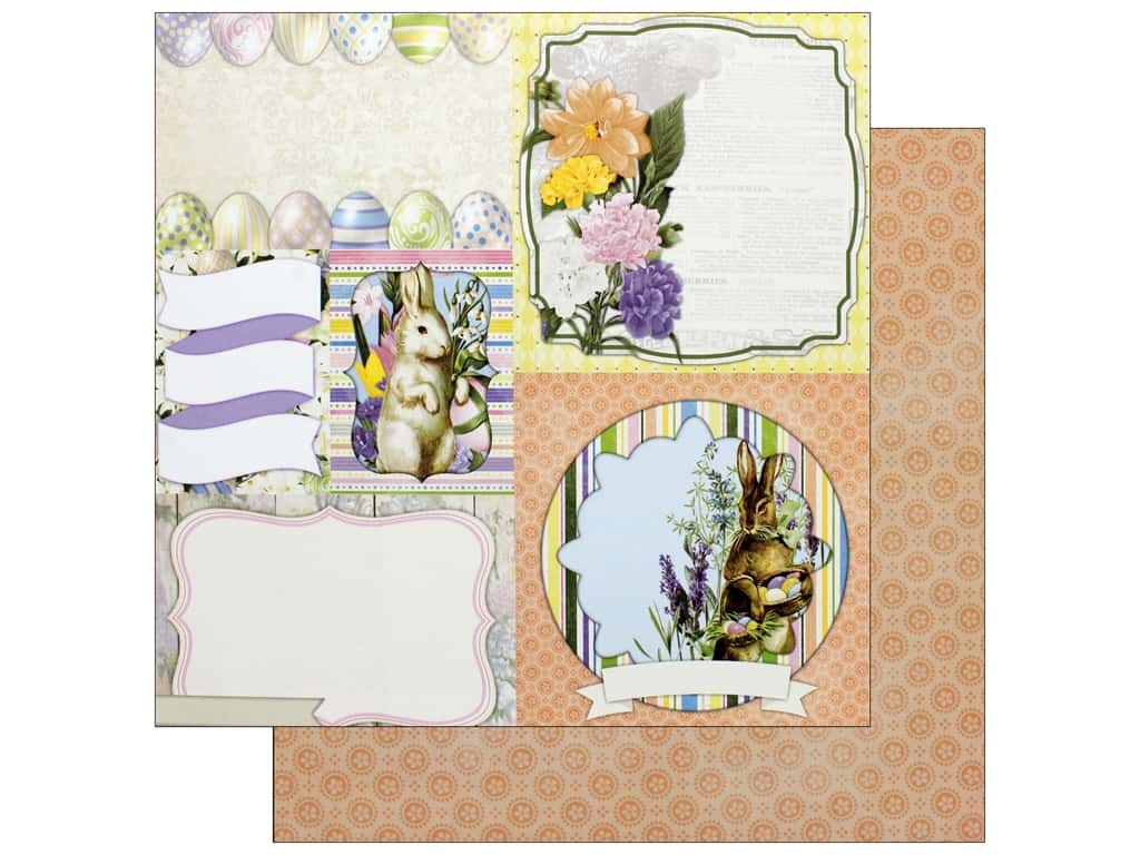 Bo Bunny Collection Cottontail Paper 12 in. x 12 in. Bunnies (25 pieces)