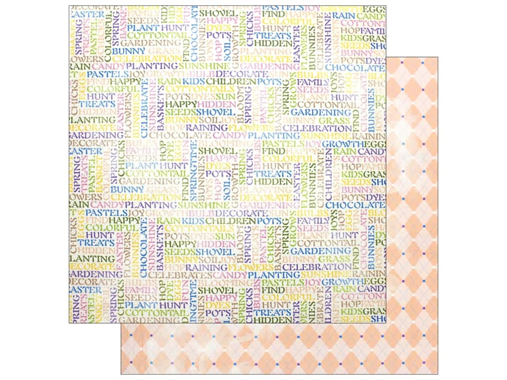 Bo Bunny Collection Cottontail Paper 12 in. x 12 in.  Pastels (25 pieces)