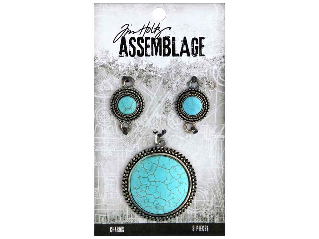 Tim Holtz Assemblage Charms Medallions Turquoise