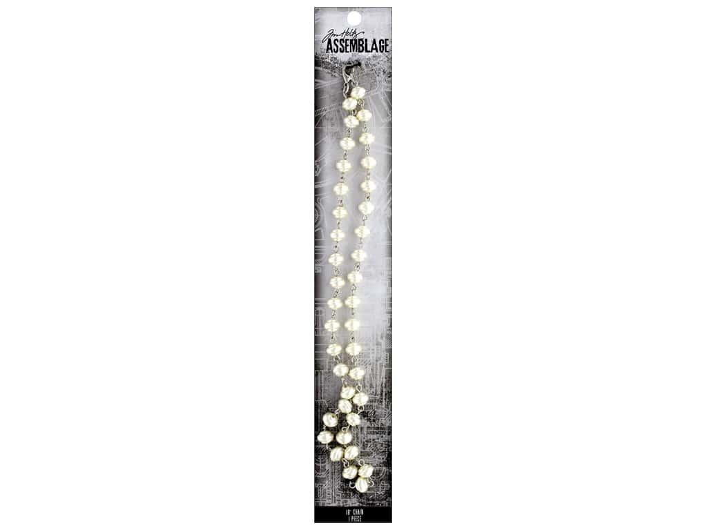 Tim Holtz Assemblage Chain 18 in. Beaded Swirly Pearl