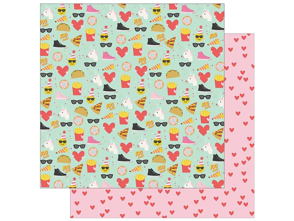 Simple Stories Collection Emoji Love Paper 12 in. x 12 in. Choose Happy (25 pieces)