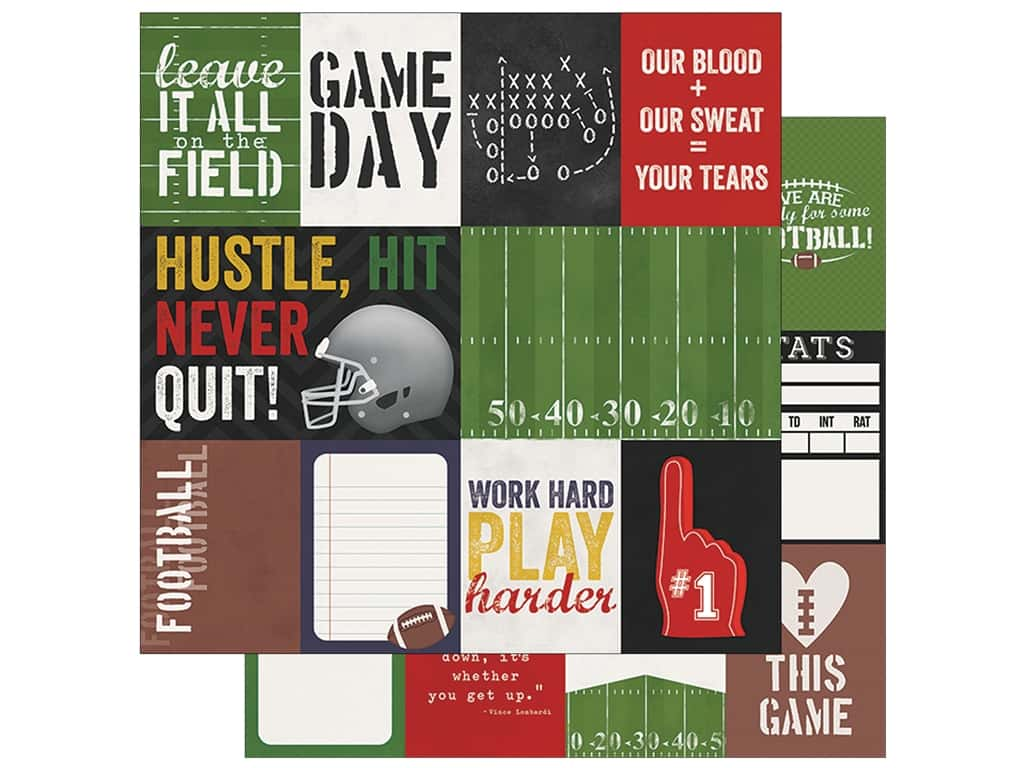Simple Stories Collection Football Paper 12 in. x 12 in. Journaling Card Elements 3 in. x 4 in. & 4 in. x 6 in. (25 pieces)