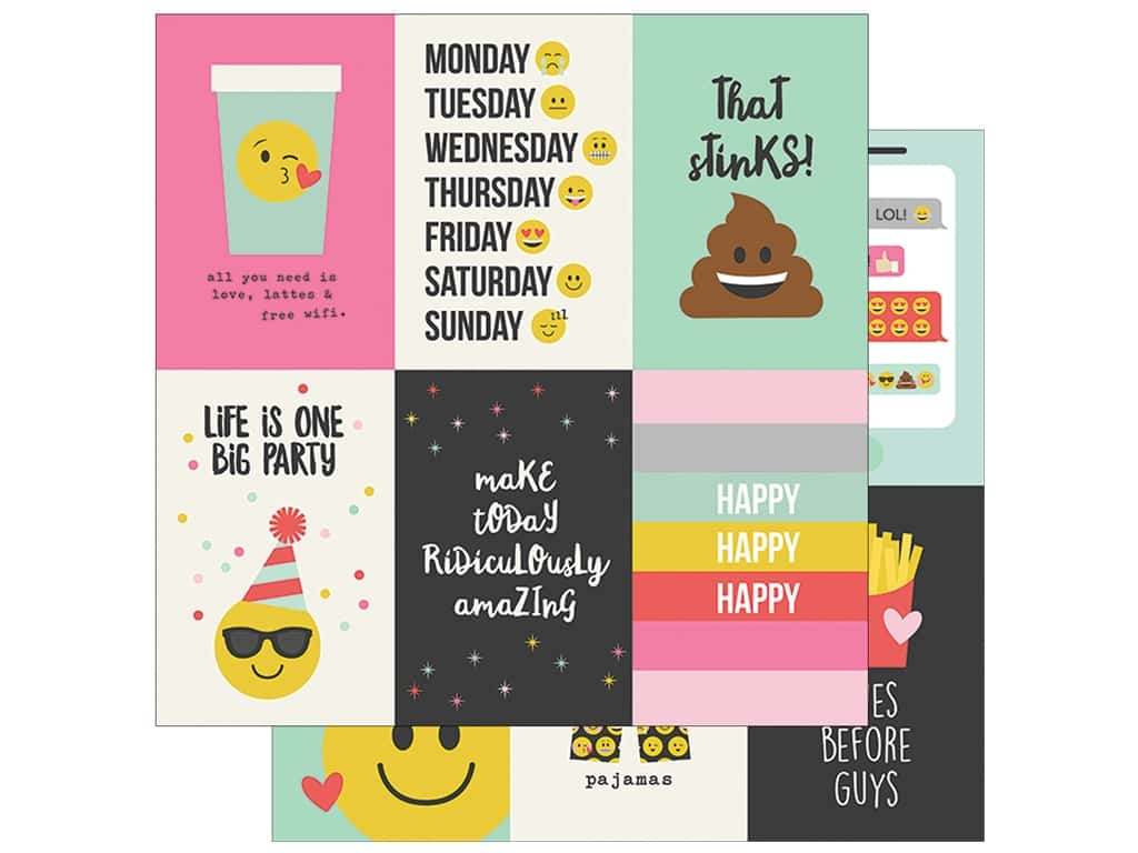 Simple Stories Collection Emoji Love Paper 12 in. x 12 in. Vertical Elements 4 in. x 6 in. (25 pieces)