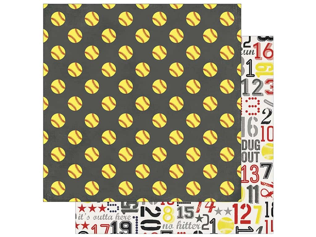 Simple Stories Collection Softball Paper 12 in. x 12 in.  Full Count (25 pieces)