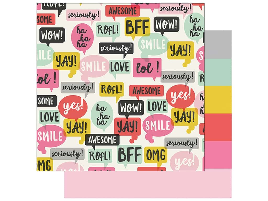 Simple Stories Collection Emoji Love Paper 12 in. x 12 in.  2 Cool (25 pieces)