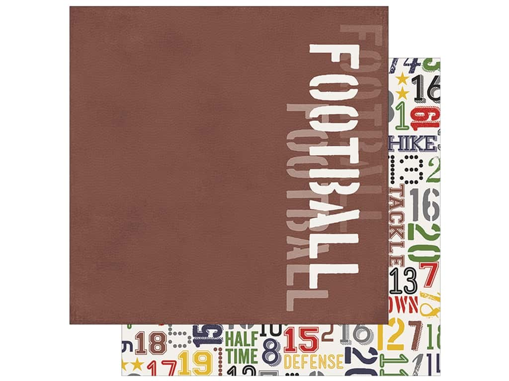 Simple Stories Collection Football Paper 12 in. x 12 in. Grid Iron (25 pieces)
