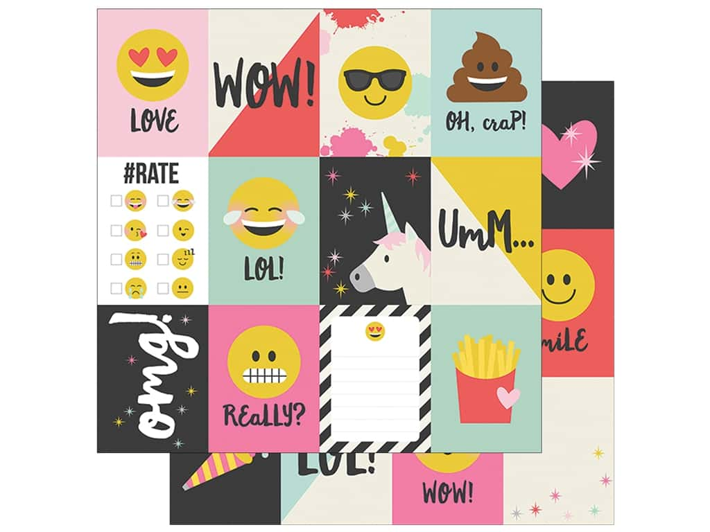 Simple Stories Collection Emoji Love Paper 12 in. x 12 in. Journaling Card Elements 3 in. x 4 in. (25 pieces)